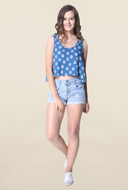 Hitch-Ki Blue Floral Print Crop Top