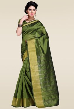 Ishin Green Woven Zari Saree With Blouse - Mp000000001014204