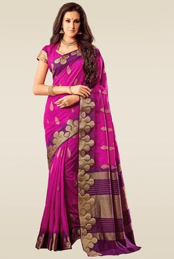 Ishin Pink Woven Saree With Blouse