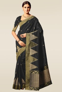 Ishin Black Woven Saree With Blouse