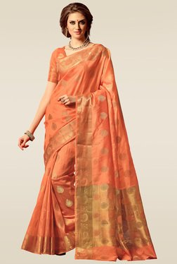 Ishin Orange Woven Printed Saree With Blouse
