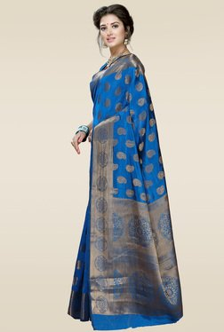 Ishin Blue Woven Printed Saree With Blouse - Mp000000001014251