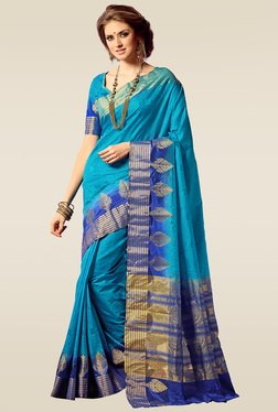 Ishin Blue Woven Saree With Blouse