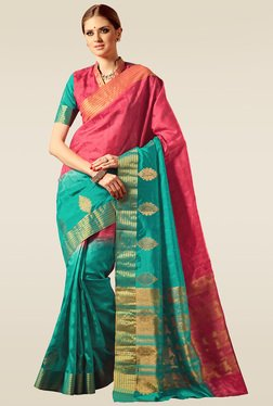 Ishin Green & Red Woven Saree With Blouse