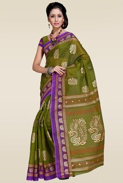 Ishin Green Woven Zari Saree With Blouse