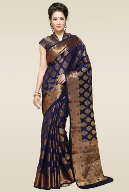 Ishin Blue Woven Printed Saree With Blouse