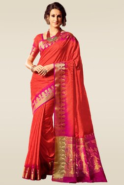 Ishin Red & Pink Woven Saree With Blouse