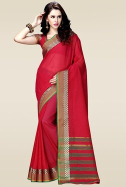 Ishin Red Woven Zari Border Saree With Blouse