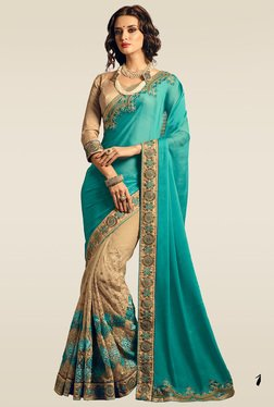 Ishin Blue & Beige Embroidered Half & Half Saree