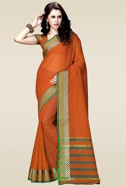 Ishin Orange Woven Zari Border Saree With Blouse