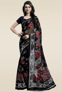 Ishin Black Printed Saree