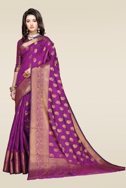 Ishin Purple Woven Saree With Blouse