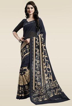 Ishin Blue Printed Saree With Blouse