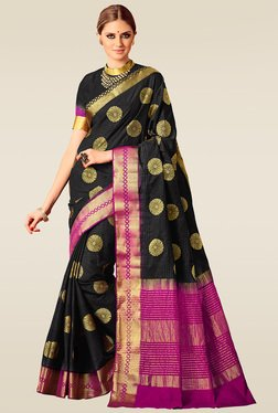 Ishin Black & Pink Woven Saree With Blouse