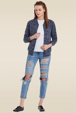 Femella Navy Round Neck Jacket