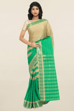 Janasya Green & Beige Striped Synthetic Saree