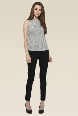 Saiesta Grey Round Neck Relaxed Fit Top