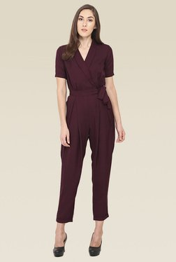 Saiesta Wine Short Sleeves Jumpsuit