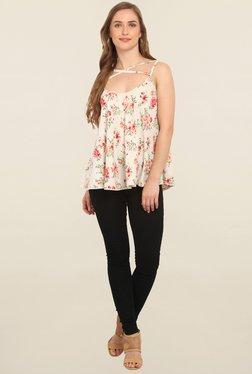 Trendy Divva Beige Floral Print Top