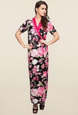 Clovia Pink Floral Print Nightie With Robe
