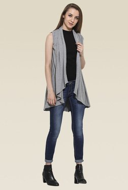 Saiesta Grey Asymmetric Hem Shrug