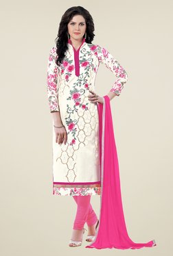 Aasvaa Off White & Pink Embroidered Cotton Dress Material