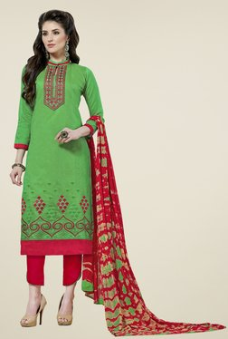 Aasvaa Green & Red Embroidered Cotton Dress Material