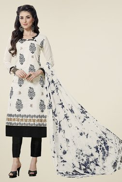 Aasvaa Cream & Black Embroidered Cotton Dress Material