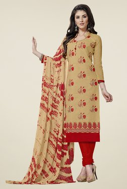 Aasvaa Beige & Red Embroidered Cotton Dress Material