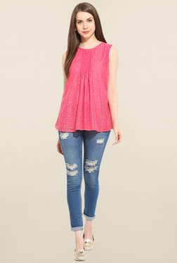 Trendy Divva Pink Lace Top