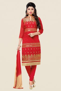 Aasvaa Red Embroidered Chanderi Dress Material