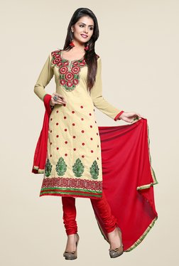 Aasvaa Beige & Red Embroidered Chanderi Dress Material