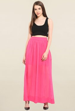 Trendy Divva Pink Solid Skirt