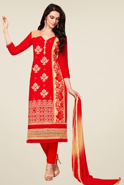 Aasvaa Red Embroidered Cotton Dress Material