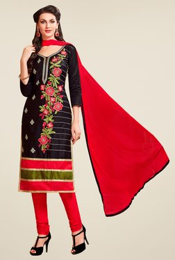 Aasvaa Black & Red Embroidered Cotton Dress Material