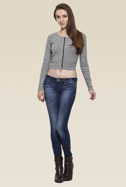 Saiesta Grey Round Neck Full Sleeves Top