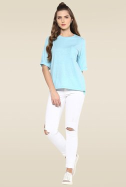 Femella Sky Blue Round Neck T-Shirt