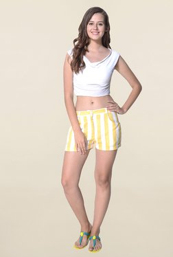 Hitch-Ki Yellow & White Striped Shorts