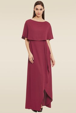 Femella Maroon Boat Neck Maxi Dress