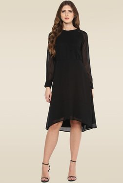 Femella Black Round Neck Midi Dress
