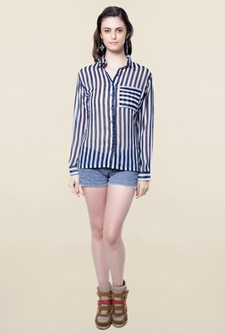 Hitch-Ki Navy & White Striped Shirt