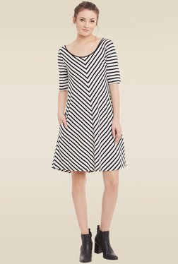 Femella White Boat Neck Dress
