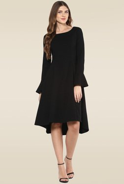 Femella Black Full Sleeves Midi Dress