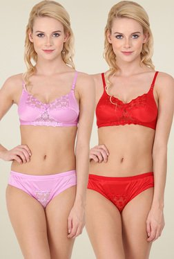 Urbaano Red & Purple Non-padded Lingerie Set (Pack of 2)
