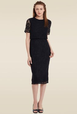 Femella Black Round Neck Dress