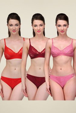 Urbaano Pink, Maroon & Red Lingerie Set (Pack of 3)