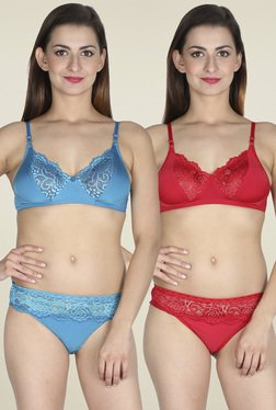 Urbaano Red & Blue Non-wired Lingerie Set (Pack of 2)