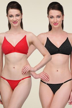 Urbaano Red & Black Full Coverage Lingerie Set (Pack Of 2)