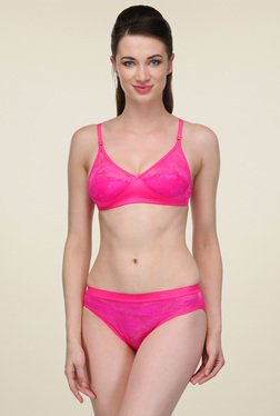 Urbaano Pink Non-wired Full Coverage Lingerie Set