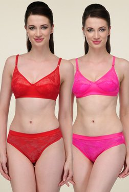 Urbaano Pink & Red Non-wired Lingerie Set (Pack of 2)